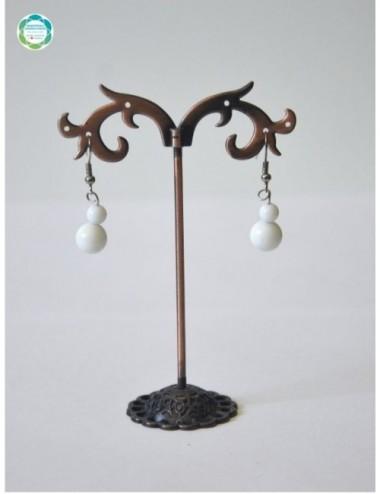 Kolczyki kula – agat biały