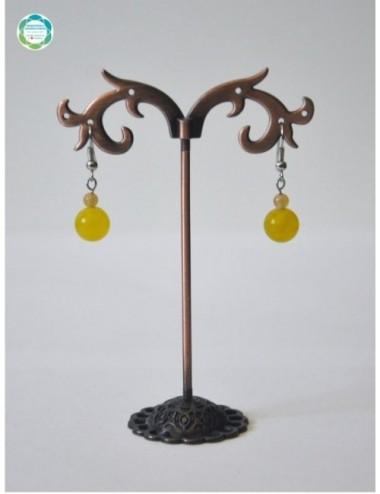 Kolczyki kula – agat żółty